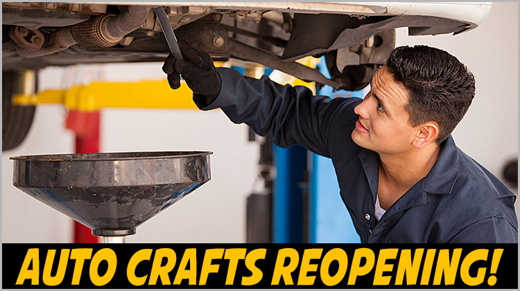 Auto Crafts Center Re-Opening!